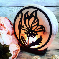 Соляная лампа Бабочка на цветке 3-4 кг