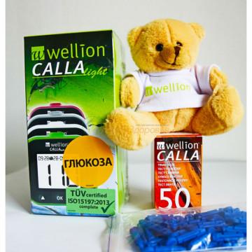 Глюкометр модель CALLA Light Wellion + тест-полоски 50 шт. и ланцеты 50 шт. + в подарок Медведь