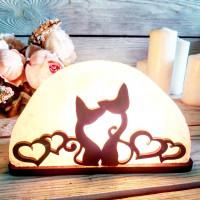 Соляная лампа Коты с сердцами 1,5 кг