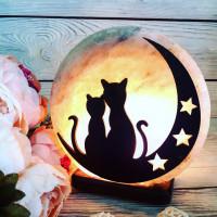 Соляная лампа Коты на Луне 3-4 кг